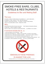 SMOKE - FREE BARS CLUBS HOTELS & RESTAURANTS poster sign.