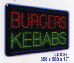 BURGERS KEBABS Animated Led Sign Low cost L.E.D. sign.
