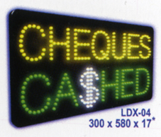 CHEQUES CASHED Animated Led Sign Low cost L.E.D. sign.