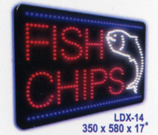 FISH CHIPS Animated Led Sign Low cost L.E.D. sign.