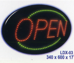 OPEN - (Oval) Green Animated Led Sign Low cost L.E.D. sign.