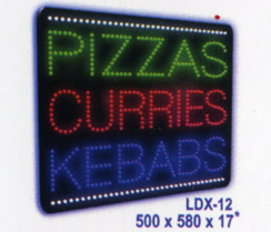 PIZZAS CURRIES KEBABS Animated Led Sign Low cost L.E.D. sign.