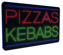 PIZZAS KEBABS Animated Led Sign Low cost L.E.D. sign.