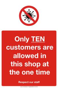 Ten Customers allowed in shop