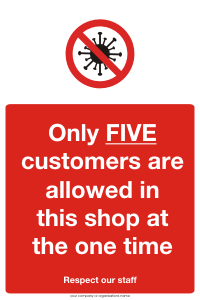 Five Customers allowed in shop