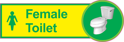 Female toilet dementia sign