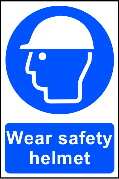 Wear Safety Helmet sign 1mm rigid PVC self adhesive backing 200 x 300mm sign