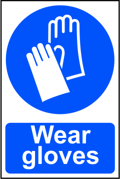 Wear gloves sign 1mm rigid PVC self adhesive backing 200 x 300mm sign