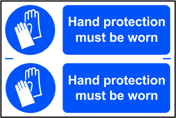 Hand protection must be worn sign 1mm rigid PVC self adhesive backing 300 x 200mm sign