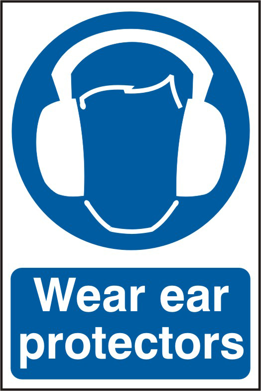 Wear ear protectors sign 1mm rigid PVC self adhesive backing 200 x 300mm sign