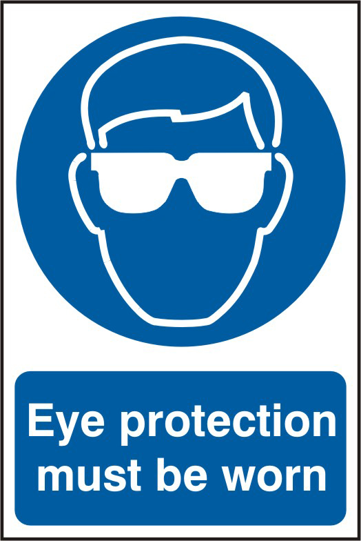 Eye protection must be worn sign 1mm rigid PVC self adhesive backing 200 x 300mm sign