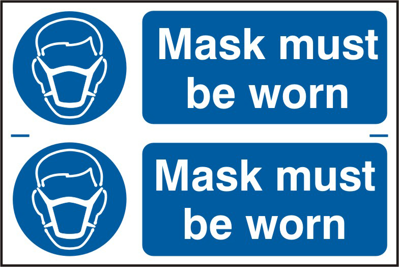 Mask must be worn sign 1mm rigid PVC self adhesive backing 300 x 200mm sign