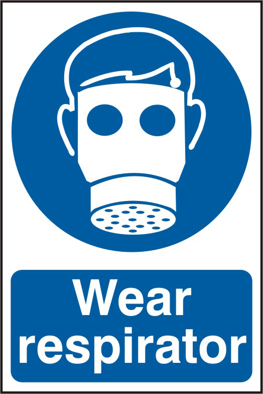 Wear respirator sign 1mm rigid PVC self adhesive backing 200 x 300mm sign