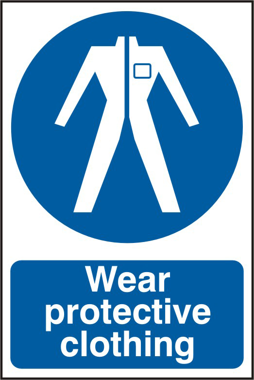 Wear protective clothing sign 1mm rigid PVC self adhesive backing 200 x 300mm sign