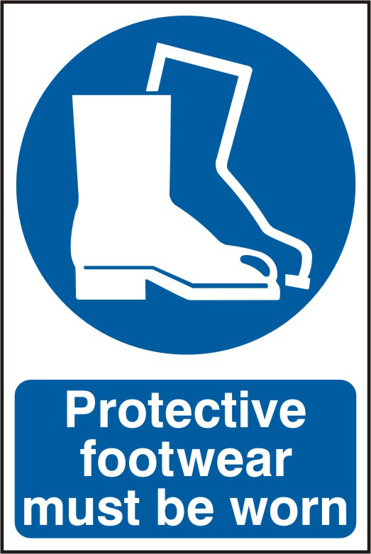 Protective footwear must be worn sign 1mm rigid PVC self adhesive backing 200 x 300mm sign