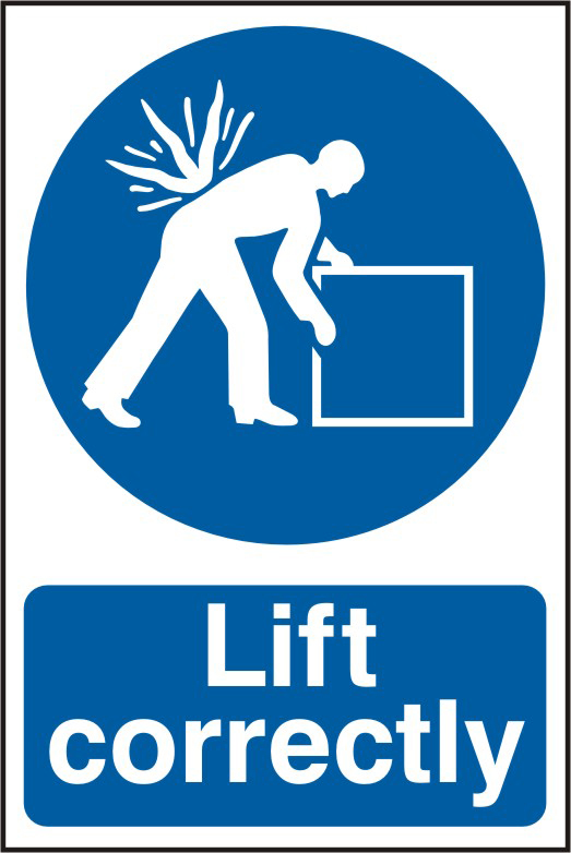 Lift correctly sign 1mm rigid PVC self adhesive backing 200 x 300mm sign