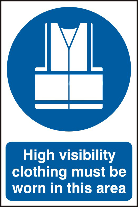 High visibility jackets must be worn in this area sign 1mm rigid PVC self adhesive backing 200 x 300mm sign