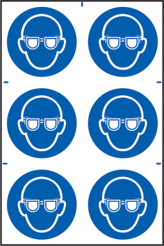 Eye protection symbols sign 1mm rigid PVC self adhesive backing 200 x 300mm sign