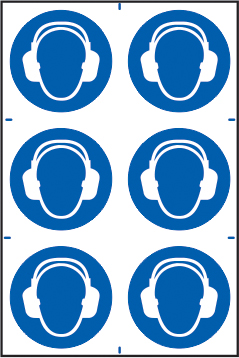 Ear protection symbols sign 1mm rigid PVC self adhesive backing 200 x 300mm sign