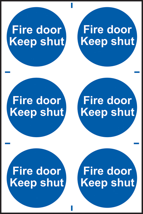 Fire door Keep shut sign 1mm rigid PVC self adhesive backing 200 x 300mm sign
