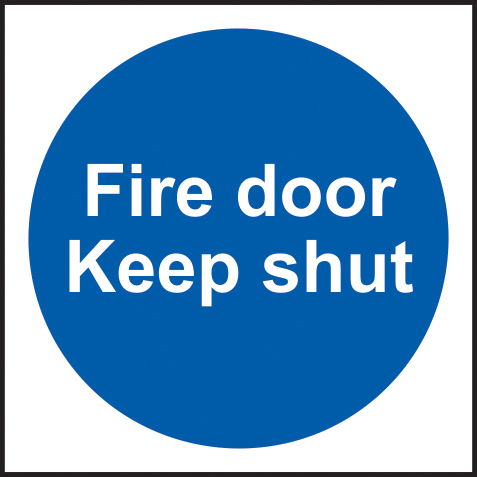 Fire door Keep shut Multipack of 10 sign 1mm rigid PVC self adhesive backing 100 x 100mm sign