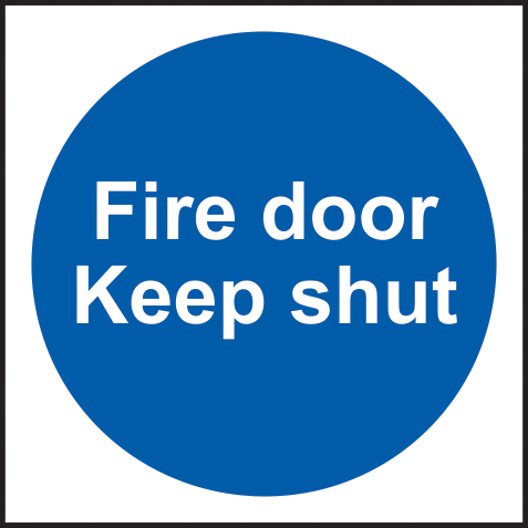 Fire door Keep shut Multipack of 20 self adhesive vinyl 100 x 100mm sign
