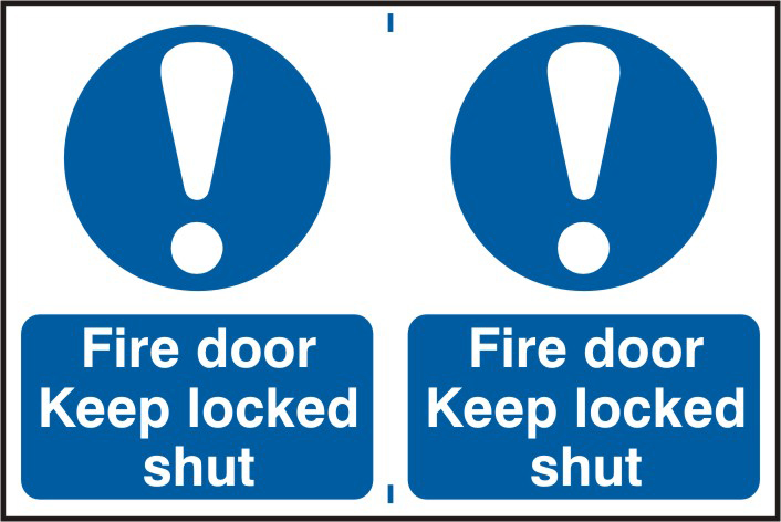 Fire door Keep locked shut sign 1mm rigid PVC self adhesive backing 300 x 200mm sign