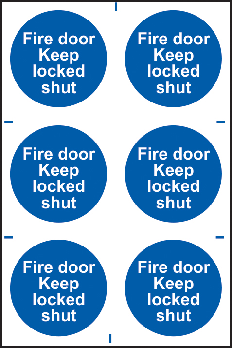 Fire door Keep locked shut sign 1mm rigid PVC self adhesive backing 200 x 300mm sign