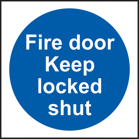 Fire door Keep locked shut Multipack of 20 sign 1mm rigid PVC self adhesive backing 100 x 100mm sign