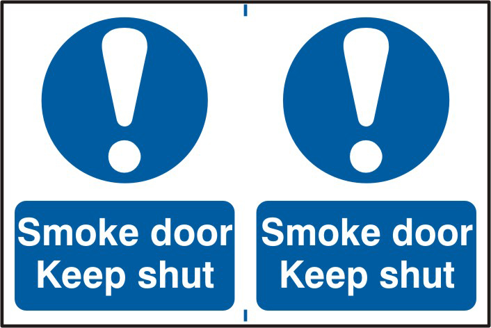 Smoke door Keep shut sign 1mm rigid PVC self adhesive backing 300 x 200mm sign