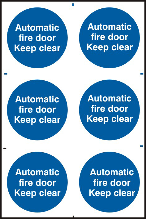 Automatic fire door Keep clear sign 1mm rigid PVC self adhesive backing 200 x 300mm sign