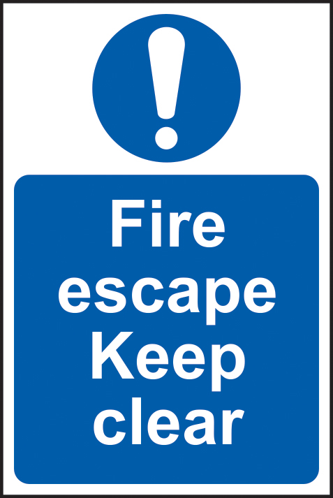 Fire escape Keep clear sign 1mm rigid PVC self adhesive backing 200 x 300mm sign