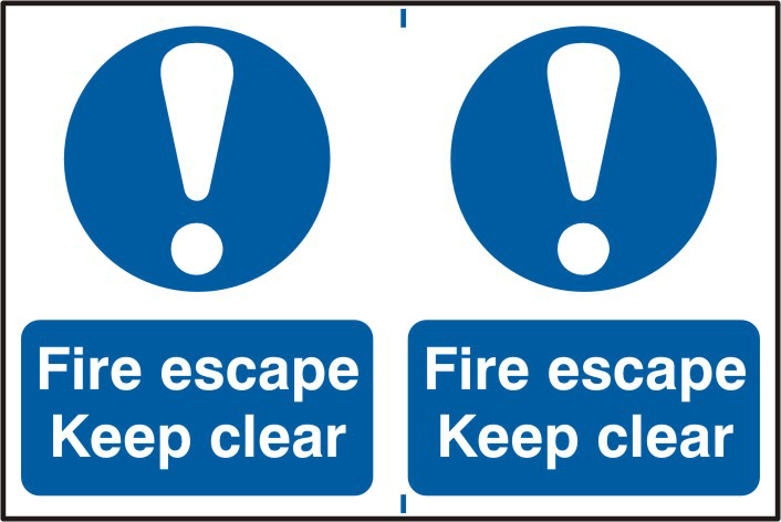 Fire escape Keep clear sign 1mm rigid PVC self adhesive backing 300 x 200mm sign