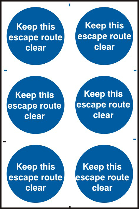 Keep this escape route clear sign 1mm rigid PVC self adhesive backing 200 x 300mm sign