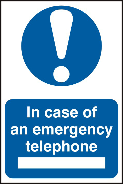 In case of emergency telephone sign 1mm rigid PVC self adhesive backing 200 x 300mm sign