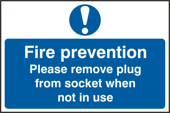 Fire prevention Please remove plus from socket when not in use sign 1mm rigid PVC self adhesive backing 300 x 200mm sign