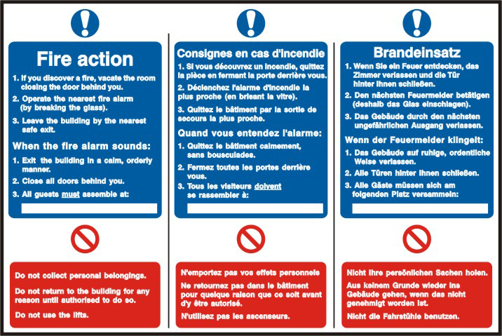 Fire action notice English / French / German sign 1mm rigid PVC self adhesive backing 300 x 200mm sign