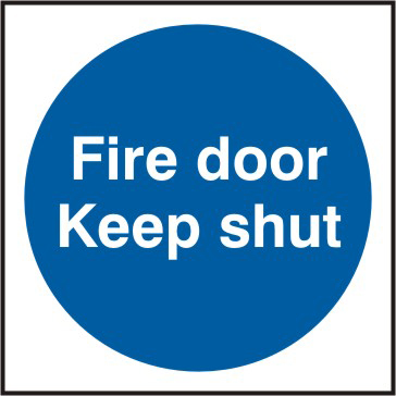Fire door Keep shut Multipack of 20 sign 1mm rigid PVC self adhesive backing 70 x 70mm sign
