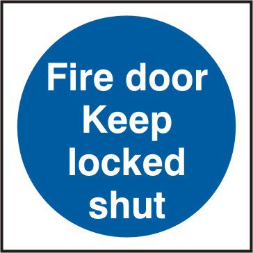 Fire door Keep locked shut Multipack of 20 sign 1mm rigid PVC self adhesive backing 70 x 70mm sign