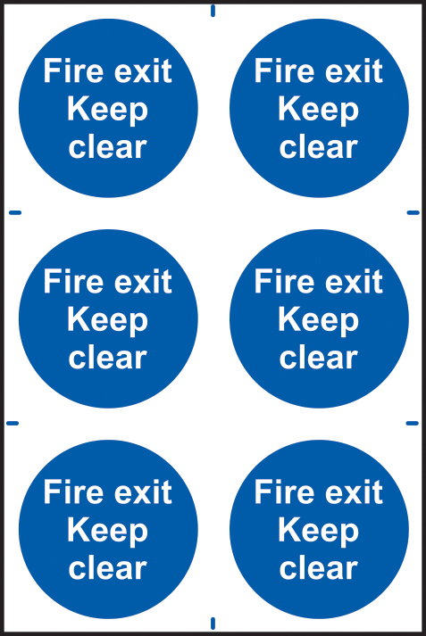 Fire exit Keep clear sign 1mm rigid PVC self adhesive backing 200 x 300mm sign