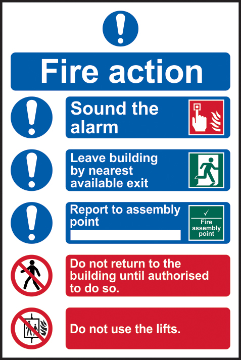 Fire action procedure sign 1mm rigid PVC self adhesive backing 200 x 300mm sign