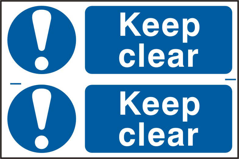 Keep clear sign 1mm rigid PVC self adhesive backing 300 x 200mm sign