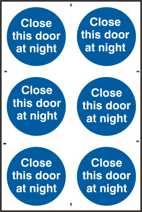 Close this door at night sign 1mm rigid PVC self adhesive backing 200 x 300mm sign