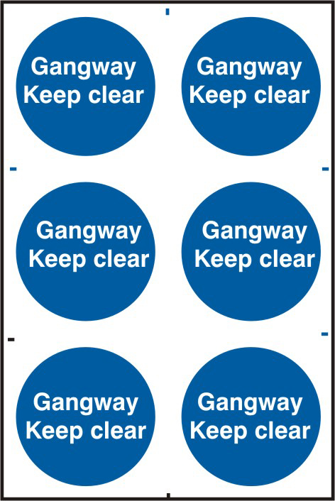 Gangway Keep clear sign 1mm rigid PVC self adhesive backing 200 x 300mm sign