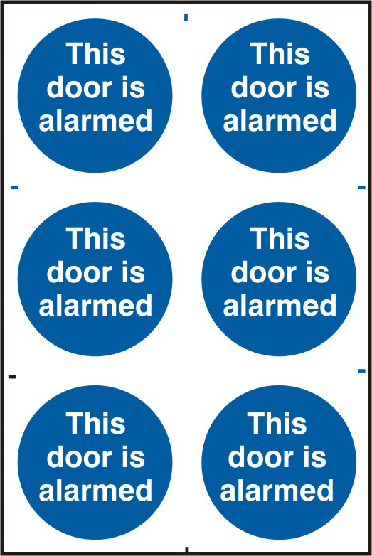 This door is alarmed sign 1mm rigid PVC self adhesive backing 200 x 300mm sign