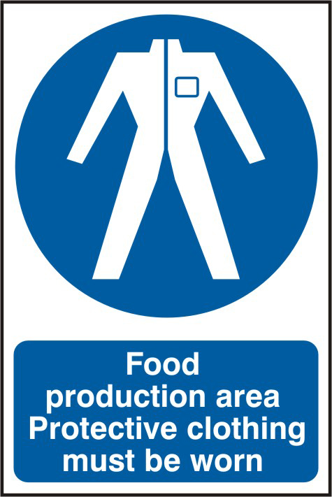 Food production area Protective clothing must be worn sign 1mm rigid PVC self adhesive backing 200 x 300mm sign