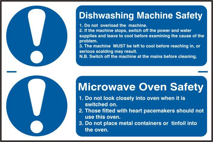 Dishwashing machine safety / Microwave oven safety sign 1mm rigid PVC self adhesive backing 300 x 200mm sign