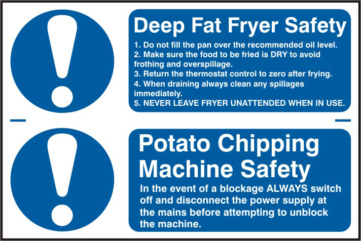 Deep fat fryer safety / Potato chipping machine safety sign 1mm rigid PVC self adhesive backing 300 x 200mm sign