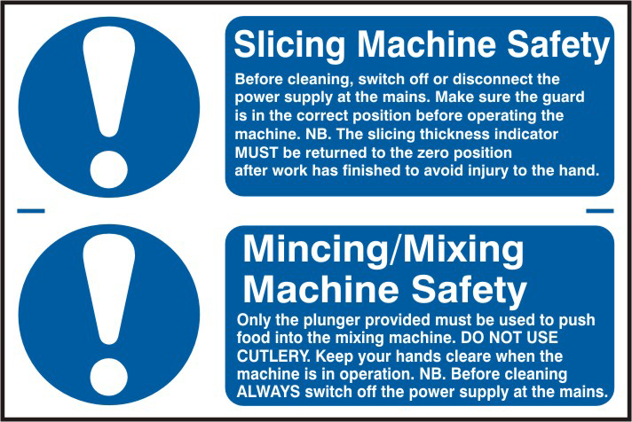 Slicing machine safety / Mincing / mixing machine safety sign 1mm rigid PVC self adhesive backing 300 x 200mm sign