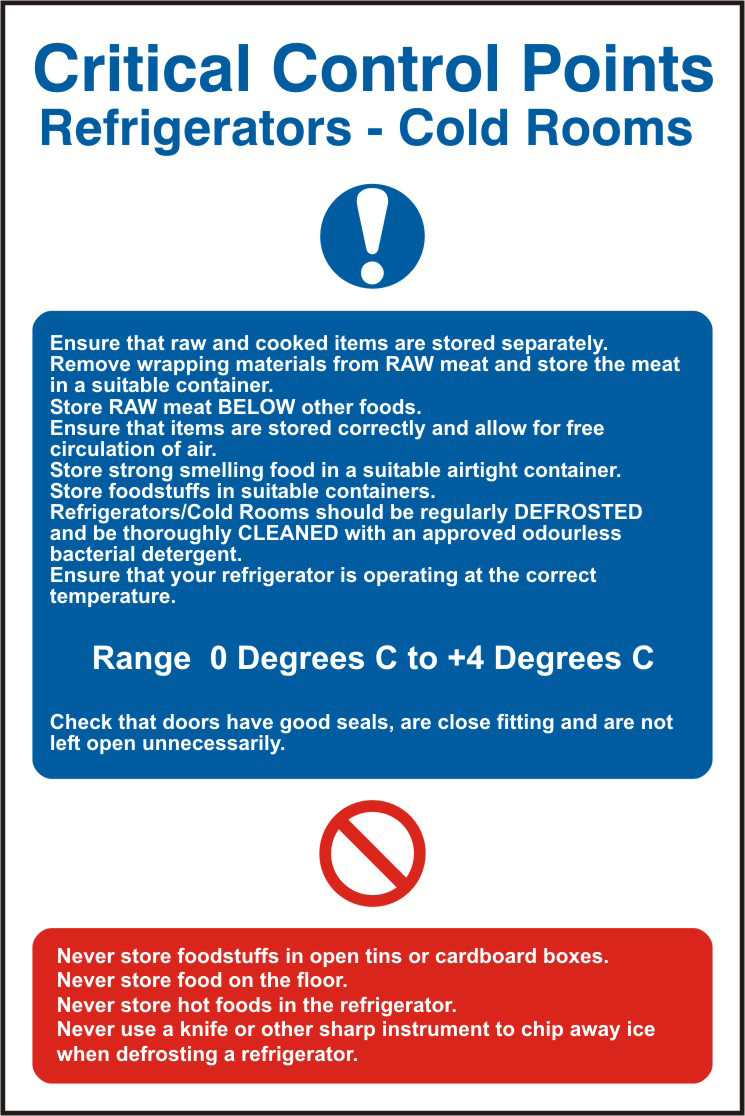 C.C.P Refrigerators sign Cold rooms sign 1mm rigid PVC self adhesive backing 200 x 300mm sign
